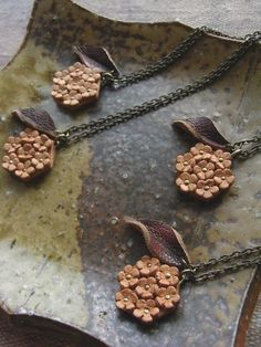 leather tiny flowers necklace  kobana by kikosattic on Etsy, $36.00
