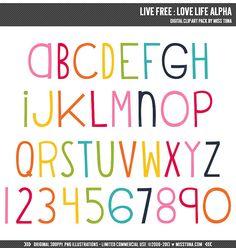 Live Free : Love Life Alpha Digital Clipart Clip Art Illustrations - instant download - limited commercial use ok