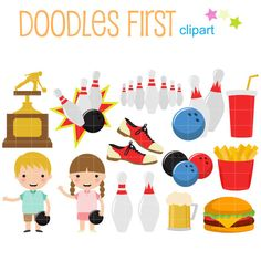 Bowling Fun Digital Clip Art for Scrapbooking Card Making Cupcake Toppers Paper Crafts