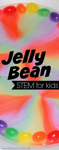 Jelly Bean STEM for Kids - such a fun science project for spring or Easter activities for kids toddler preschool prek kindergarten first grade grade homeschool Rainbow Activities, Easter Activities For Kids, Stem For Kids, Spring Activities, Toddler Activities, Toddler Preschool, Stem For Preschoolers, Holiday Activities, 2nd Grade Activities