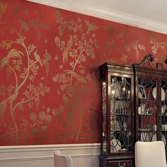 Birds and Berries Chinoiserie Wall Mural Stencil - Wall Painting Stencils for Easy Room Makeover – Large Stencil for Painting Walls – Stenciling Instead of Wallpaper (Small) Tree Stencil, Wallpaper Stencil, Stencil Painting On Walls, Chinoiserie Wallpaper, Red Wallpaper, Stencil Diy, Wall Stenciling, Damask Stencil, Beautiful Wallpaper