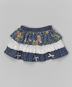 Look what I found on #zulily! Blue & White Chambray Tiered Skirt - Infant, Toddler & Girls #zulilyfinds