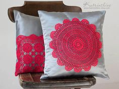 Silver grey and red Pillow Cover With Crocheted by katrinshine