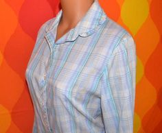 vintage 70's shirt accent blouse PLAID preppy blue pastel button down round ruffle collar Medium women. $22.00, via Etsy.