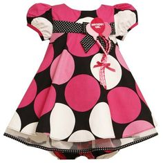 "$37.99-$48.00 Baby Bonnie Jean Baby Girls Pink Dots Birthday Dress 12M - Your baby girl will love this pink polka dot balloon birthday dress from Bonnie Jean. This gorgeous black dress features a large pink, white and magenta dot print  throughout. The bodice is adorned with a black polka dot bow and three pink balloons gathered in a bunch with a pink bow and embroidered with ""Birthday Girl."" Th ..."