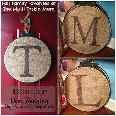 This burlap door hanging craft is super easy and adorable fall craft!