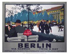 Berlin via Harwich twice a day, LNER, c.1925 Poster bei AllPosters.de