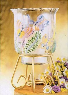 $15.99  ILLUMINATIONS GOLD FINISH HANDPAINTED GLASS BUTTERFLY CANDLE HOLDER NIB