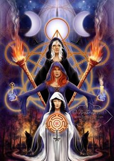 """Magick Wicca Witch Witchcraft: """" ~ Triple Goddess,"""" by Kim Dreyer. goddess of magic Hecate Greek fairy Hecate Goddess, Goddess Art, Lillith Goddess, Celtic Goddess, Celtic Mythology, Maiden Mother Crone, Religion, Pagan Art, Triple Goddess"""