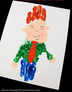 Father's Day handprint art for dad. A fun handprint idea for toddlers and preschoolers that looks like dad! An easy Father's Day craft for kids Fathers day handprint handprint art for dad handprint ideas Fathers Day Art, Easy Fathers Day Craft, Fathers Day Gifts, Kids Crafts, Craft Activities For Kids, Fathersday Crafts, Grandparents Day Crafts, Lunch Boxe, Handprint Art