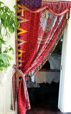 Door Curtains, Curtains For Closet Doors, Curtain Door, Hippie Bohemian, Bohemian Decor, Boho Gypsy, Yellow Walls, Blue Yellow, Red And Grey