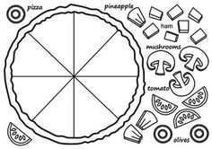 "Pizza template. Use it in the ESL classroom for a vocabulary unit on food or in the mainstream classroom for a fractions lesson. Get students to write a recipe for their pizza using fractions: ""my pizza has 3/8 of mushrooms, 2/8 of olives, etc. Or simply use for fun!"