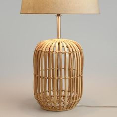 Handwoven by artisans in the Philippines of bamboo wicker, our exclusive lamp brings the rustic beauty of the outdoors into your home. The natural qualities of bamboo result in color and texture variations that make each piece unique. Rustic Lamps, Wood Lamps, Rustic Lighting, Table Lamp Base, Lamp Bases, Bamboo Lamp, Rattan Lamp, Bamboo Table, Tropical Home Decor