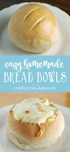 Easy Homemade Bread Bowls - soft and chewy bread bowls are perfect for filling with your favorite soup! #breadbowls #soup #bread #baking