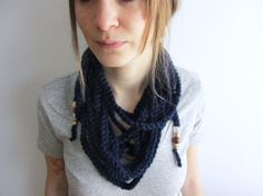 Bohemian Scarf Necklace / Infinity Scarf  Navy // by Abrahamsson Co