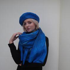 Original felted woolen blue evening shawl with a blue beret