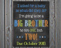 Printable Chalkboard Twins Pregnancy Reveal by ChalkingItUpBoards, $5.00