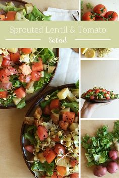 crisp sprouted lentils, ripe tomatoes, and a garlicky lemon dressing.