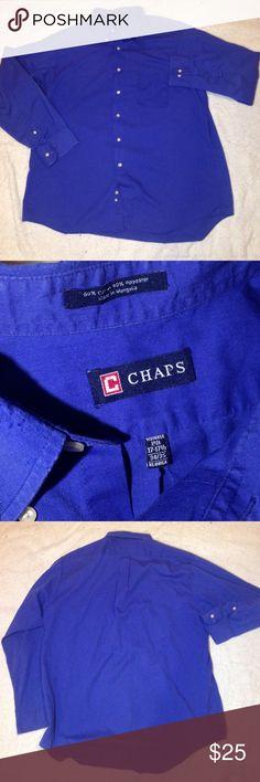 30% Off BUNDLES 😋 Chaps Dress Shirt men's XL Blue Button Up Dress Shirt by Chaps men's XL 17-17.5 neck excellent condition pretty blue great for work Chaps Shirts
