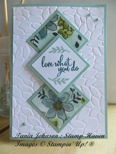 What You Love Diamond Spotlight. Beautiful panel card using DSP, layered on the petal burst embossing folderShare What You Love Diamond Spotlight. Beautiful panel card using DSP, layered on the petal burst embossing folder Ideas Scrapbook, Scrapbook Cards, Scrapbooking Layouts, Making Greeting Cards, Greeting Cards Handmade, Birthday Card Design, Embossed Cards, Stamping Up Cards, Card Patterns
