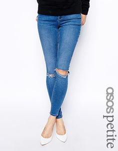 1bdc0ba72f25 ASOS PETITE Ridley High Waist Ultra Skinny Jeans in Busted Blue with Busted  Knees Things To