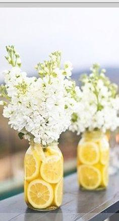 Lemon Centerpieces with cut lemon and stock. Affordable
