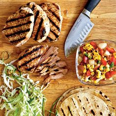 104 Budget Cooking Recipes: Feed 4 for $10 Grilled Pork Tacos with Summer Corn and Nectarine Salsa