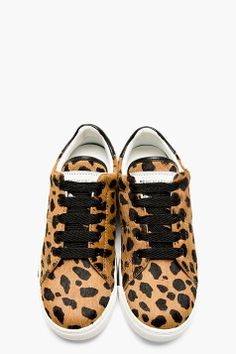 MARC BY MARC JACOBS Brown Spotted Calf Hair Low Top Sneakers