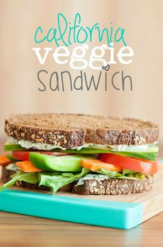 This California Veggie Sandwich is my favorite! The trick to making this vegetarian sandwich downright irresistible is the homemade spinach dip spread!