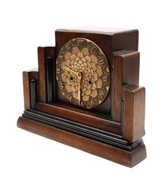 Wooden Art Deco mantle-clock with bronze dial executed by Mundiklok the Netherlands ca.1930