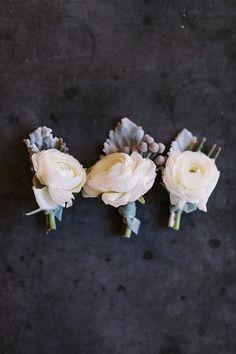 white + silver boutonnieres | Haley Sheffield #wedding