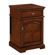 This attractive end table is made from the highest quality hardwood and hardwood veneers and boasts a rich rose cherry finish. Brushed nickel knobs and soph