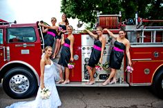 How many times will you get to have a fire truck in your wedding pics?
