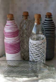 recycling glass bottles, crafts, repurposing upcycling