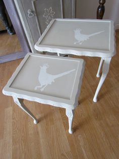 Nest of tables painted in Autentico Almond and Huile de Noix