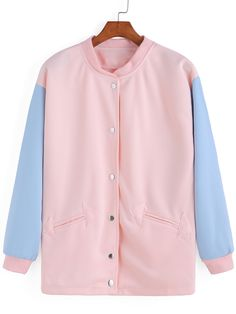 Contrast Sleeve Edge Pockets Pink Jacket 14.00