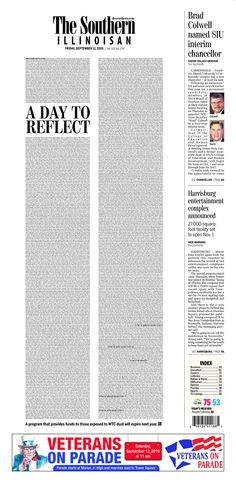 A day to reflect, Front page of the day