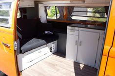 """Nemo"" Our completed 1974 VW Westfalia Kombi camper. Modern interior 1979 Cabinets"