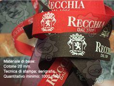 Packaging, Nastro in fettuccia di cotone Italiano, stampa in serigrafia.