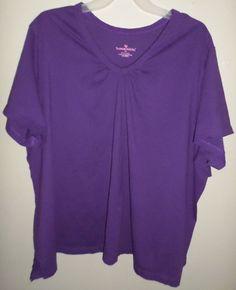 Woman Within V Neck Tunic T-Shirt Shirring Purple Grape Plus Sz 6x 34/36 38/40 #WomanWithin #Tunic #any