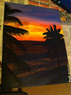 palm tree sunrise painting Sunrise Painting, Acrylic Painting Techniques, Palm Trees, Picture Ideas, Arts And Crafts, Paintings, Wall Art, Tips, Artwork