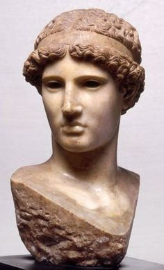 """Head of Athena, so called """"Athena Lemnia"""" orginal work of Greek by Phidias, because it was dedicated by the farmers of the Island of Lemno in the Acropolis of Athens,Two full reconstructions in the Staatliche Museum, Albertinum, Dresden"""