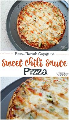 Sweet Chili Sauce Pizza - Pizza Ranch Copycat Simple pizza with big flavor. Sweet chili sauce isn't just for your egg rolls - it's amazing on pizza!! #pizza #pizzaparty #pizzaranch #sweetchilisauce #pizzarecipe