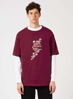 JADED Burgundy Embroidered Flowers T-Shirt*