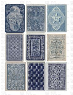 Vintage Playing Cards BLUE Backs - INSTANT DOWNLOAD - 8.5 x 11 inch Printable…