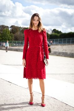 monochromatic look with red lace dress and ankle strap shoes.