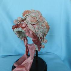 Antique silk lush velvet bonnet Antique French BEBE BRU Kestner doll