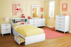 South Shore Spark Twin Mate's Bed With Under Bed Storage Drawer Color: White ideen wandgestaltung farbe gelb Mack & Milo Ardin Twin Mate's & Captain's Bed with Drawers and Bookcase Bedroom Bed, Girls Bedroom, Bedroom Furniture, Bedroom Decor, White Furniture, Modern Bedroom, White Bedroom, Dream Bedroom, Kids Furniture