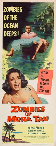 "A classic poster for the 1957 horror film ""The Zombies of Mora Tau."""