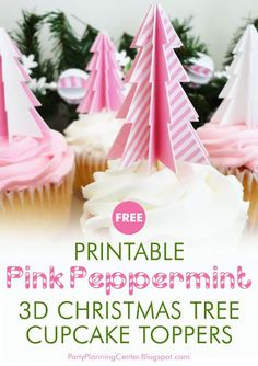 "FREE Printable Christmas Tree Cupcake Toppers | These cute pink Christmas tree cupcake toppers are easy to make and they really dress up your cupcakes. They also come with a matching FREE printable holiday gift bag, and they coordinate with the other printables in the Kindle book, ""Printable Pink Peppermint Christmas Decorations.""  #CupcakeIdeas #ChristmasCupcakeIdeas #ChristmasCupcakeToppers #CarlaChadwick Peppermint Christmas Decorations, Christmas Cupcake Toppers, Outside Christmas Decorations, Christmas Tree Cupcakes, Mexican Christmas, Pink Christmas Tree, Christmas Ideas, Free Christmas Printables, Party Printables"